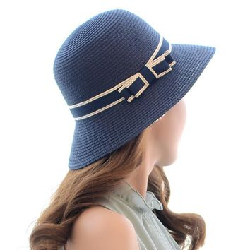 Lady Boater sun caps Ribbon Round vaulted Top Straw Fedora Panama Hat summer hats for women straw hat snapback gorras