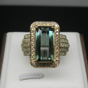 Engagement Ring -  4 Carat Green Tourmaline Ring With Diamonds In 14K Gold