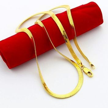 24K GP Men's Jewelry 50cm long, pure gold color / silver color 4mm Soft Snake Chain necklace 20inch, fashion men's necklace