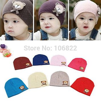 flat cap Candy Color Bear Hat Baby Children Boys Girls Cotton Beanie Cap One Size