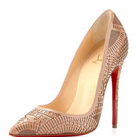 Christian Louboutin Kristali Laser-Cut Leather Red Sole Pump, Nude