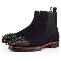 Spiked Suede Navy Boots by Christian Louboutin