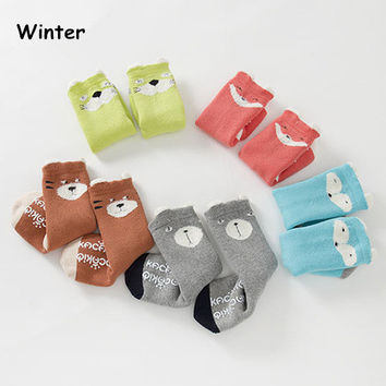 2017 new baby socks thick for winter boys girls cartoon animal sleeping infant socks meias newborn toddler anti slip sock meia