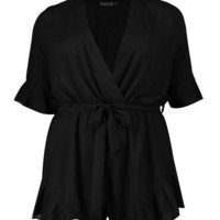 Plus Ruffle Hem Playsuit | Boohoo