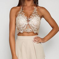 DCCKHQ6 Gold Halter Lace Zip Back Crop Bralette Top
