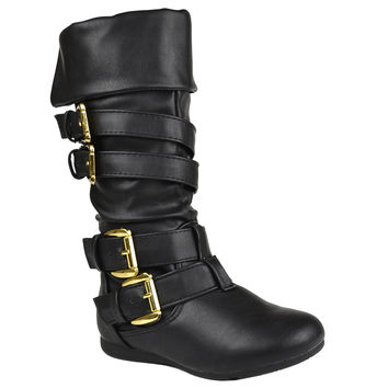 Kids Mid Calf Boots Gold Stacked Buckle Accent Casual Shoes Black