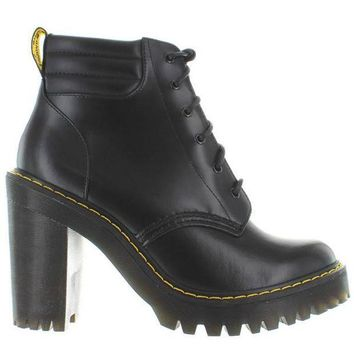 Dr. Martens Persephone   Black Leather High Chunky Heel Lace Up Bootie