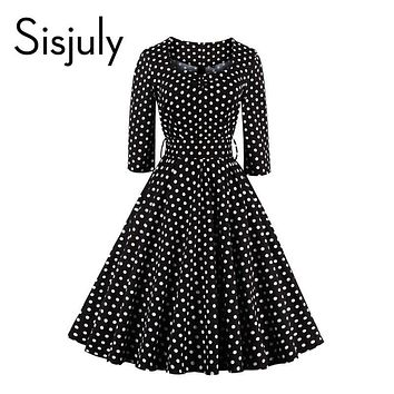 Sisjuly style vintage dress black polka dot party dresses a line 1950s retro rockabilly pin up dress vestido 2017 vintage dress