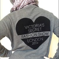 Victoria's Secret Sequin Bling Fashion Show London 2014 Gray Hoodie (X-Large)