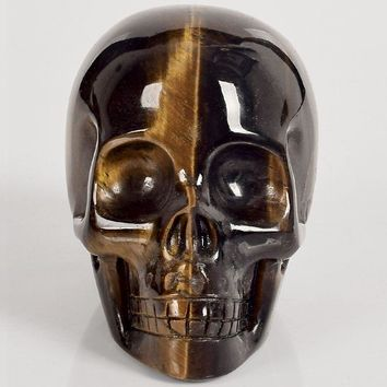 Skull Skulls Halloween Fall 3 inch tiger eye refinement  figurine natural stone mineral Carved Realistic statue healing Home Ornament art collectible Calavera