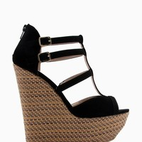 Collide 16 Patterned Jute Nubuck Strappy Wedge