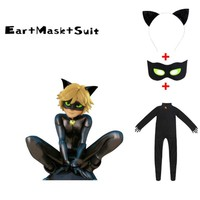 Cool Black Cat Noir Cosplay Costume Miraculous Ladybug Jumpsuit / wig For PURIM child Adrien Marinette Superhero Cosplay girls/boysAT_93_12