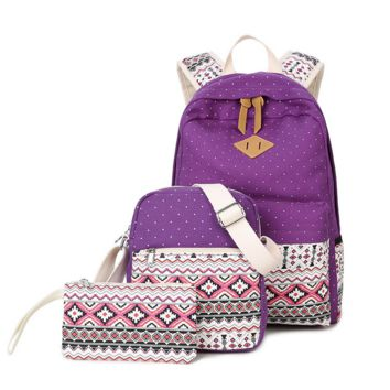 3pcs Purple Backpack Canvas Travel Bag