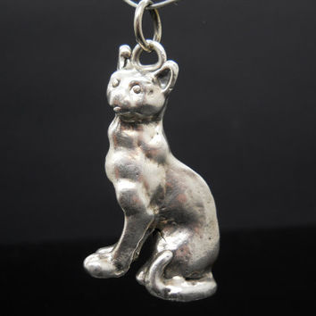 Cat Pendant Sterling Silver Puffy Jewelry Animal 925