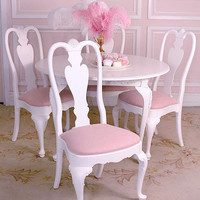 8162 - Shabby White Chic Set of 4 Ethan Allen Dining Chairs with Pink Linen - $750 - The Bella Cottage