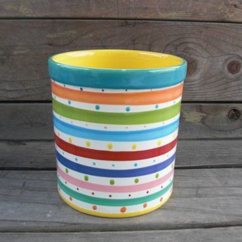 Bright Rainbow Stripes and Dots Large Round Ceramic by InAGlaze