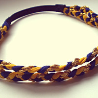 Mustard Yellow Navy and Gold Double Braided Headband Hippie Headband Indie Hair Accessories Boho Band