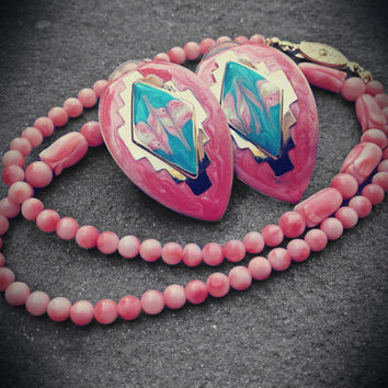 Vintage Pink Tribal Earrings & Necklace