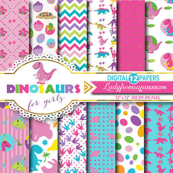 Dinosaurs for Girls,Digital paper pack, Dinosaur background, girl dinosaur, cute dinosaur, pink, purple, chevron, Commercial-Personal Use