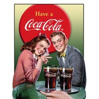 Coca Cola Coke Young Couple Retro Vintage Tin Sign
