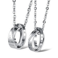 TIDOO Jewelry Fashion 316L Stainless Steel His & Hers Matching Set Pendant Necklace Inlay Rhinestone Ring Pendant Neck Chain Torque For Couple Lover Party Wedding Anniversary Engagement [7640054534]
