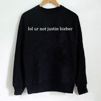 PEAPJ1A New women's letter sweater lol ur not justin bieber