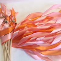 200 Wedding wands orange coral and pink triple streamers with bells send off ribbon you choose colors