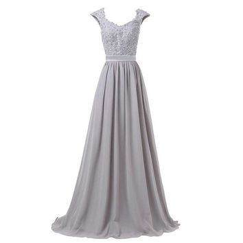 Silver Gray Evening Dresses Chiffon Cap Sleeves Lace Applique Purple And Royal Blue Corset Long Evening Dress Prom Gown
