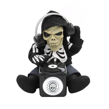 Battery Operated Sound Activated TalkBack Animated DJ Skeleton 27 CM Tall Spooky Halloween Table Decoration Fun Novelty Toys