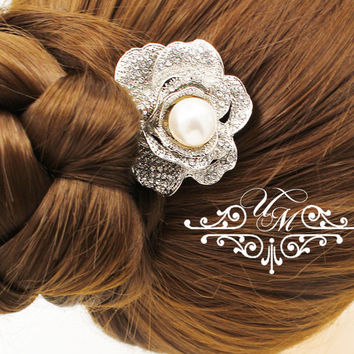 Wedding jewelry Bridal Hair Comb Swarovski Hair comb Rhinestone Rose Hair Comb Wedding hair comb Bridal headpiece Hair pins - RAGNA