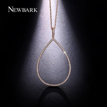 NEWBARK Drop Water Necklace Big Pear Necklaces & Pendants Rose Gold Plated Tiny Cubic Zirconia Diamond Jewelry Minimalist Colar