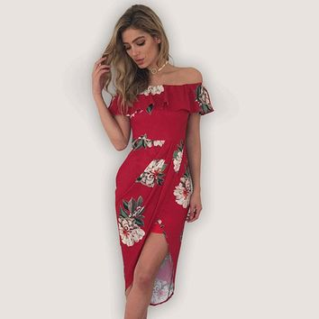 Deep Tropical Floral Off-the-Shoulder Dress