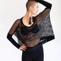 Black cropped top, stretch lace mesh and velvet oversized top, long sleeved tshirt
