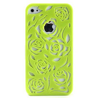 Green Hollow-out Flower Hard Case for iPhone 4 4S