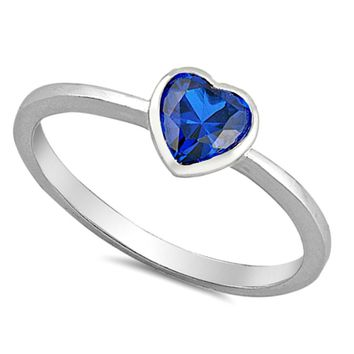 .925 Sterling Silver Blue Sapphire Heart Ring Ladies and Kids Size 2-12 Midi