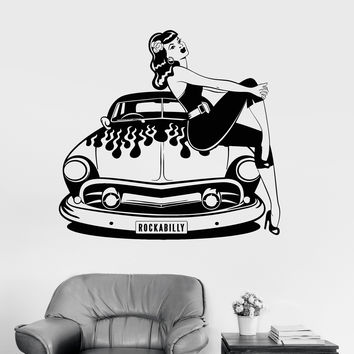 Vinyl Wall Decal Retro Car Sexy Girl Rock N Roll Lady Stickers Unique Gift (983ig)