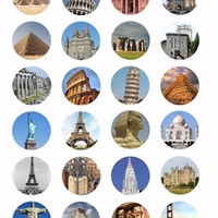 digital download collage sheet printables wonders of the world clipart 1.5 inch circles architecture DIY jewelry making pendant images