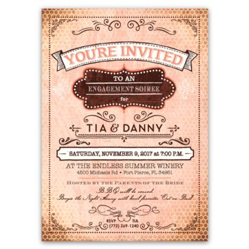 Honeycomb Vintage Style Party Invitations