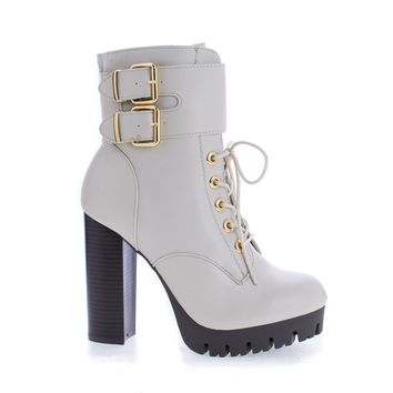 Veronica08 Stone Pu By Wild Diva, Lace Up Combat Lug Sole Platform Stacked High Heel Ankle Boots