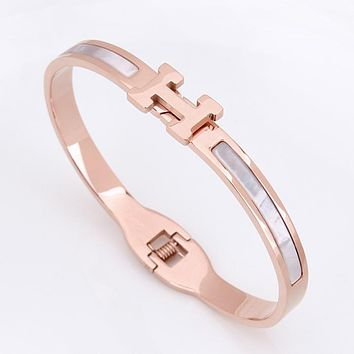 Hermes Women Bracelet Ladies Titanium Steel Gold-Plated