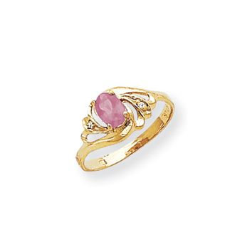 0.014 Ct  14k Yellow Gold 6x4mm Oval Pink Sapphire Diamond Ring I1 Clarity and G/I Color