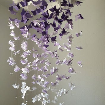 Paper Lace Chandelier Monarch Butterfly Mobile - purple and white Mix - Made to order