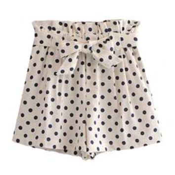 'Naomi' Polka Dot Waist Tied Shorts