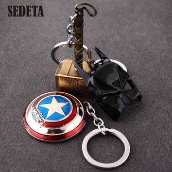 New The Avengers Marvel Character Captain America Thor Hammers Hulk Batman Mask KeyChain Keyrings Key Chain