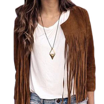 Fringed Long Sleeve Suede Coat