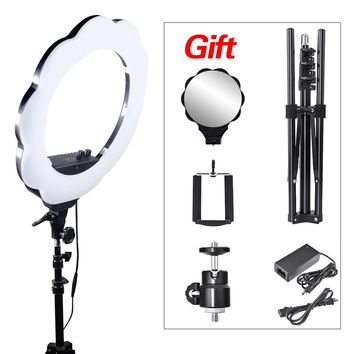 Mcoplus Photographic Lighting 384 LED Bi-color 3000K-6000K Dimmable Camera Phone Photography Ring Light Lamp+Tripod Stand