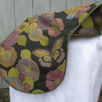 English Saddle Cover:  Butterfly and Floral Tapestry