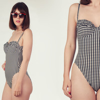 80s Black and White Gingham Swimsuit / Padded Cups With Bows Swimsuit / High Cut Leg Swimsuit