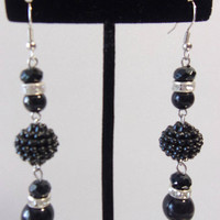 Black Beaded Berry Earrings Dangle Drop Jewelry Fashion Accessories For Her