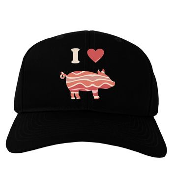 I Heart My Bacon Pig Silhouette Adult Dark Baseball Cap Hat by TooLoud